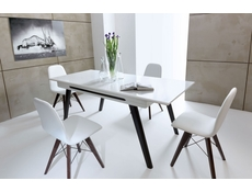 White Gloss Dining Room Furniture Set Extending Table with Brown Legs & 4 Chairs - Azteca Trio