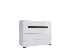 Wide Chest of Drawers White Gloss or Oak - Azteca (S205-KOM4S/8/11-BIP/WEM-KPL01)