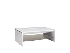 White Gloss Coffee Table Rectangular with Glass Shelf - Azteca (LAW/4/11)