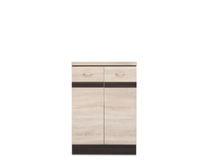Modern Free Standing Kitchen Cabinet Base Cupboard 2-Door Unit 60cm - Junona (K22-D2D/60/82-WE/DSO/DSO-KPL01)