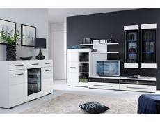 Fever - TV Cabinet with Glass Front in White High Gloss