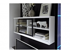Glass Wall Display Cabinet Shelf White Gloss or Oak - Fever (SFW1W/4/10)
