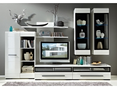 Cabinet Bookcase Unit White Gloss or Oak - Fever