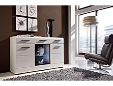 Modern Wide Sideboard Display Glass Cabinet LED Light White/White Gloss - Fever (S182-KOM1W2D2S/9/15-BIP/CA-KPL01)