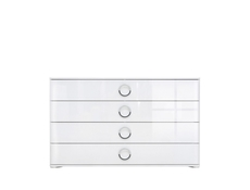Modern Wide Bedroom Chest of 4 Drawers Storage Unit Soft Closing White/White Gloss - Roksana
