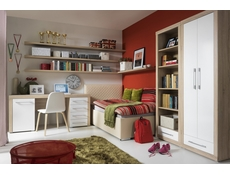 Office Study Furniture Set in Oak and White Gloss - Bigi (BIGI OFF SET )