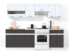 Kitchen Set 7 Units Cabinets in White Gloss / Grey Wolfram - Junona