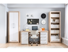 Wide Office Study Desk with Drawers in Oak & White Gloss - Bigi