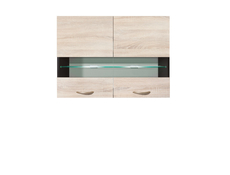 Junona Line - Glass Upper Cupboard 80cm with glass shelf and LED lights (G2W/80/57 + LED )