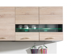 Junona Line - Glass Upper Cupboard 80cm with glass shelf and LED lights
