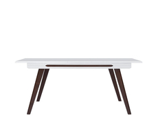 Modern Extending Dining Table White Gloss Top Solid Wood Wenge Legs - Azteca (D09002-ULTRA-BIP/DWB-KPL01)
