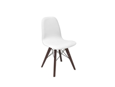 Modern White Dining Chair Wooden Brown Legs Eco-Leather Seat Classic Retro Style - Azteca Trio