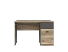 Urban Computer Desk for Home Office Study 120cm with Drawer Oak/Grey - Malcolm