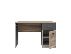 Urban Computer Desk for Home Office Study 120cm with Drawer Oak/Grey - Malcolm (S325-BIU1D1S-DAMO/SZW/DAMON-KPL01)