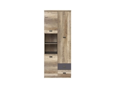 Urban Tall Wide Cabinet 3-Door Storage Unit Bookcase 80cm Oak/Grey - Malcolm