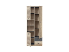 Tall Cabinet Bookcase Shelving Unit in Oak & Grey finish - Malcolm