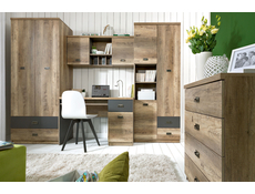 Urban Tall Wide Cabinet 3-Door Storage Unit Bookcase 80cm Oak/Grey - Malcolm (S325-REG3D2S-DAMO/SZW/DAMON-KPL01)