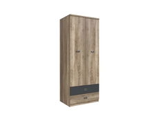 Urban Free Standing Double Wardrobe Oak/Grey 2-Door Drawers Unit - Malcolm