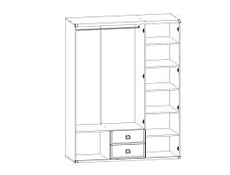 Mirrored Large Wardrobe with Shelves Pine Oak effect - Indiana