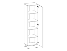Modern Tall Bookcase 1-Door Storage Cabinet Unit 50cm White Gloss - Ringo