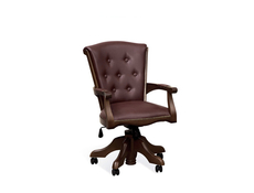 Office Leather Chair Solid Wood Wallnut - Bawaria (DFOT)