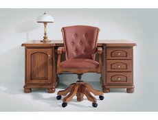 Traditional Adjustable Office Leather Chair Solid Wood Walnut Finish - Bawaria