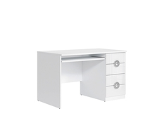 Modern White Gloss Computer Desk for Home Office Study 120cm wide with Drawers - Ringo