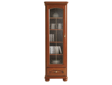 Traditional Tallboy Glass Display Cabinet 1-Door Left Polished Solid Wood Chestnut Finish - Bawaria (S11-DWIT1dL-KA/OW)