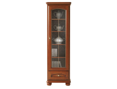 Traditional Tallboy Glass Display Cabinet 1-Door Right Polished Solid Wood Chestnut Finish - Bawaria