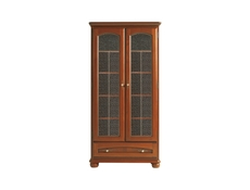 Traditional Glass Display Tall Cabinet 2-Door Polished Solid Wood Chestnut Finish - Bawaria (S11-DWIT2d1s-KA/OW)
