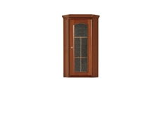 Traditional Glass Display Cabinet 1-Door Top Unit Dresser Polished Solid Wood Chestnut Finish - Bawaria