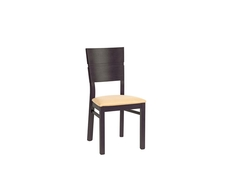 Dining Chair Wenge brown finish with cream seat pad - August (HKRS)