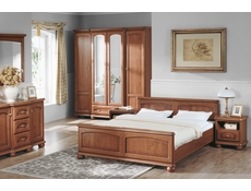Traditional Chest of Drawers Classic Bedroom Solid Wood Dresser Polished Walnut Finish - Bawaria